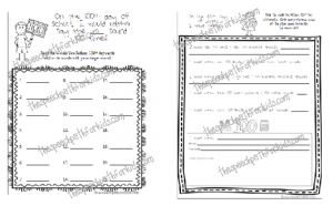100th Day Articulation & Reasoning recording sheets