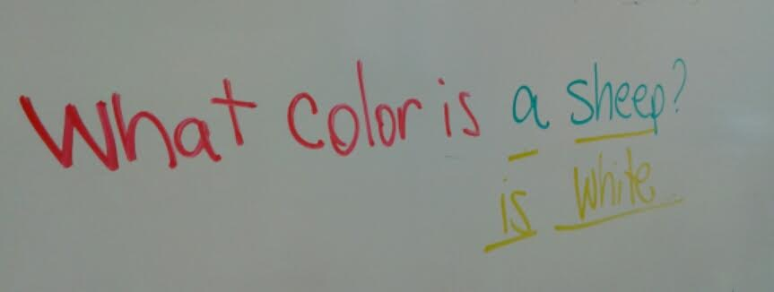 As I asked the question, I wrote it in red and green. When the student answered, I added the response in yellow.