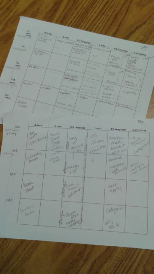 My very real, not so pretty, but handy to have lesson plans.